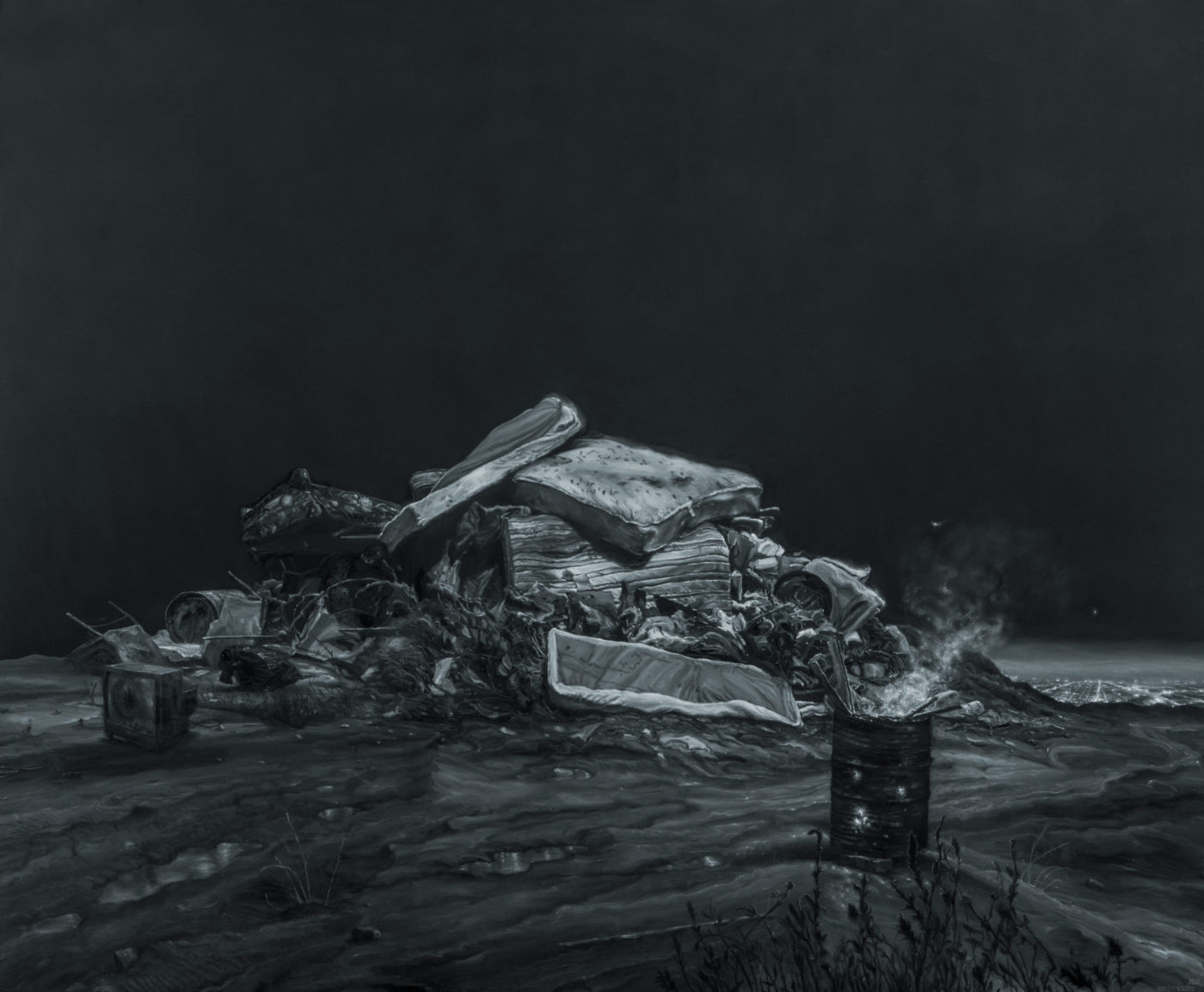 """Close up photo of """"The City II"""" by Vincent Valdez, the detail shows a pile of mattresses, broken chairs, broken television and other garbage next to a metal barrel containing pieces of wood that are on fire"""
