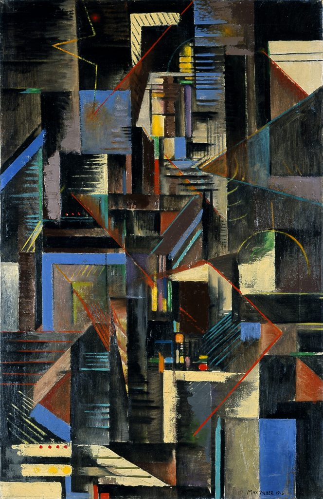 """Cubist painting by Max Weber, titled """"New York at Night"""""""