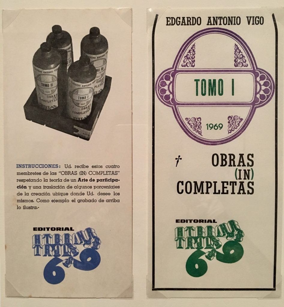 Framed lithograph and letterpress on woven paper of a series of four labels. They come with a set of instructions inviting recipients to affix the labels to anything they consider worthy of art status. All text in Spanish
