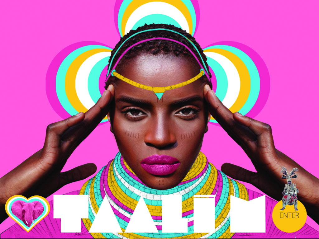 Screenshot image from Taali M website created by Pierre-Christophe Gam. The image features singer-songwriter Taali M who is staring out at the viewer with their fingers on their temples