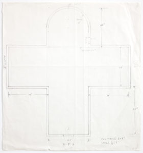 A pencil study for the arched roof of Ellsworth Kelly's Austin