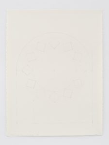 A pencil study of the stained-glass window in the South wall of Ellsworth Kelly's Austin