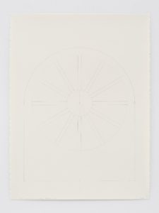 "Ellsworth Kelly, ""Study for Stained Glass Window, North Wall, Chapel,"" 1987, graphite on paper, 40 x 30 inches (101.6 x 76.2 cm). Blanton Museum of Art, The University of Texas at Austin. Gift of the artist and Jack Shear, 2018. ©Ellsworth Kelly Foundation. Photo Ron Amstutz, courtesy Matthew Marks Gallery"