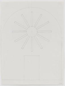 "Ellsworth Kelly, ""Study for Stained Glass Window, North Wall, Chapel,"" 1987, graphite on paper, 16 5/8 x 12 3/8 inches (42.2 x 31.4 cm). Blanton Museum of Art, The University of Texas at Austin. Gift of the artist and Jack Shear, 2018. ©Ellsworth Kelly Foundation. Photo Ron Amstutz, courtesy Ellsworth Kelly Studio"