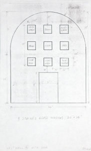 "Ellsworth Kelly, ""Study for Stained Glass Window, West Wall, Chapel, with Dimensions,"" 1987, graphite and Xerox on paper, 14 x 8 1/2 inches (35.6 x 21.6 cm). Blanton Museum of Art, The University of Texas at Austin. Gift of the artist and Jack Shear, 2018. ⓒEllsworth Kelly Foundation. Photo courtesy Ellsworth Kelly Studio"