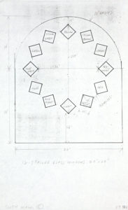 "Ellsworth Kelly, ""Study for Stained Glass Window, South Wall, with Dimensions,"" 1987, graphite and Xerox on paper, 14 x 8 1/2 inches (35.6 x 21.6 cm). Blanton Museum of Art, The University of Texas at Austin. Gift of the artist and Jack Shear, 2018. ⓒEllsworth Kelly Foundation. Photo courtesy Ellsworth Kelly Studio"