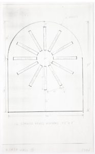 "Ellsworth Kelly, ""Study for Stained Glass Window, North Wall, Chapel, with Dimensions,"" 1987, graphite on paper 14 x 8 1/2 inches (35.6 x 21.6 cm). Blanton Museum of Art, The University of Texas at Austin. Gift of the artist and Jack Shear, 2018. ©Ellsworth Kelly Foundation. Photo courtesy Ellsworth Kelly Studio"