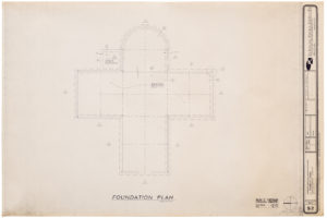 "Blueprint of ""Cramer chapel,"" by the architectural firm Oschner Nolan Piramide, 1989. Photo courtesy Blanton Museum of Art, The University of Texas at Austin"