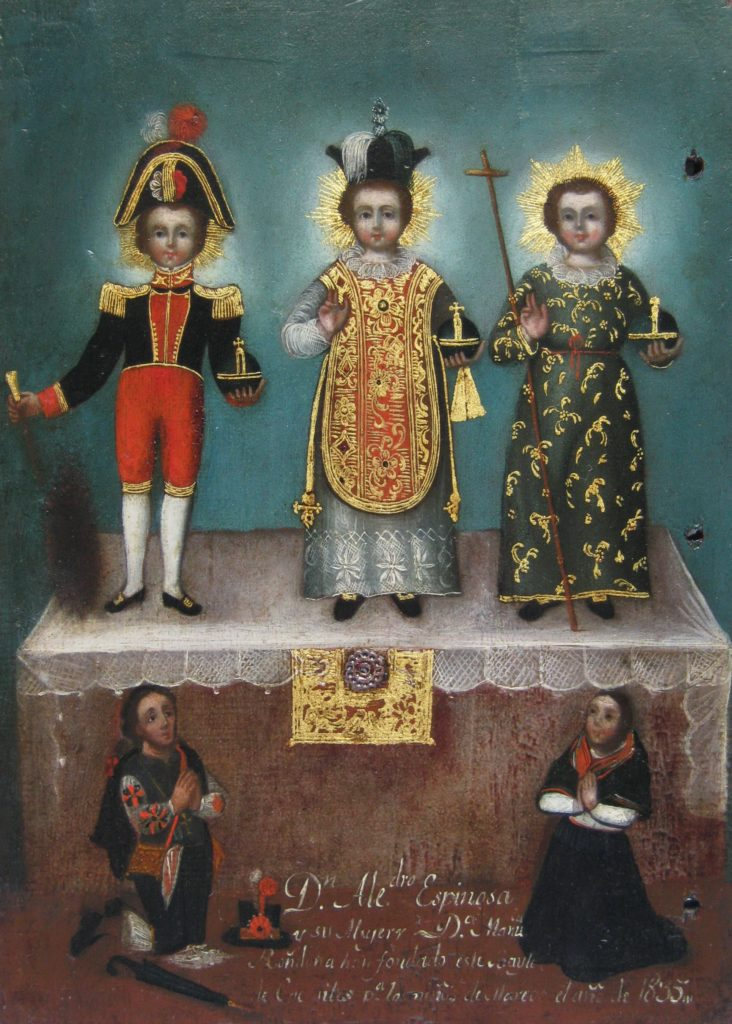 """Painting by unknown artist, titled """"Tres esculturas del Niño Jesús con donantes indígenas [The Christ Child in Three Guises with Indigenous Donors]"""""""