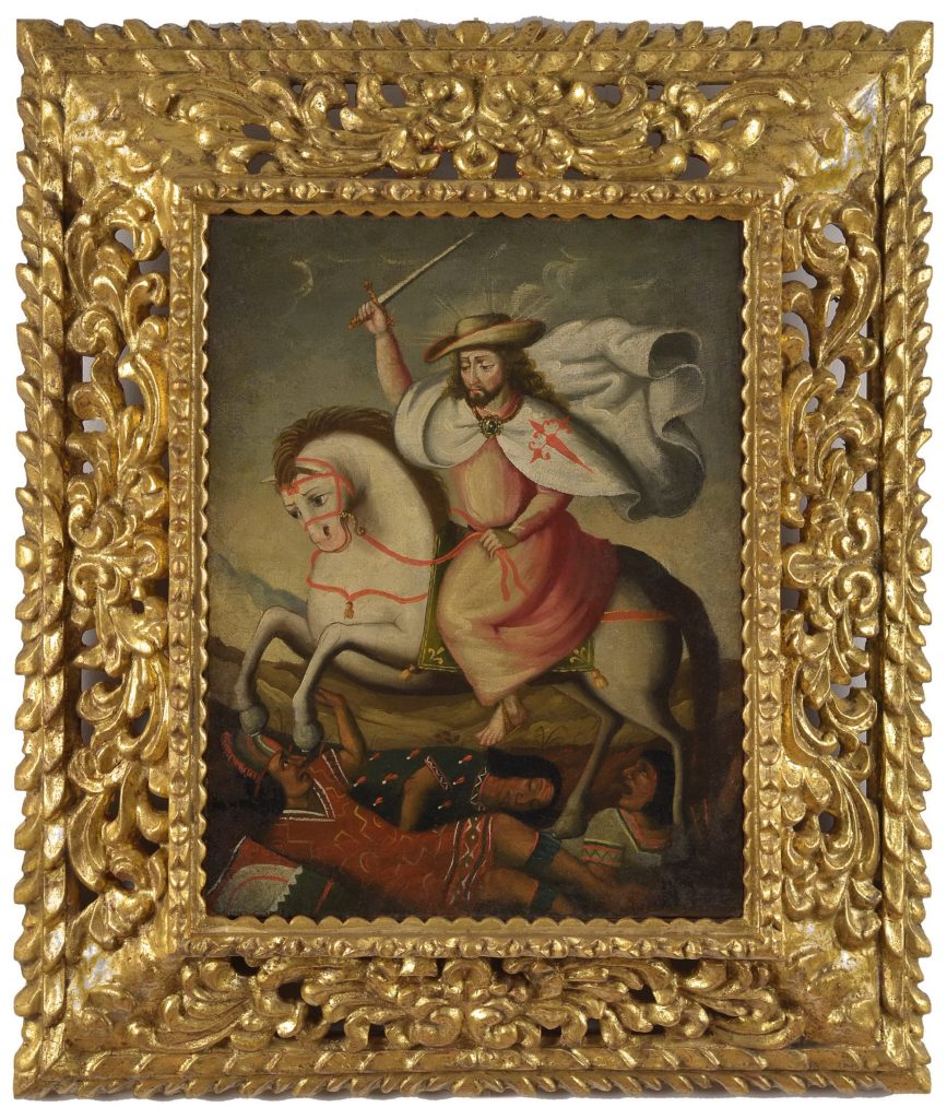 An oil painting depicting a male figure (Saint James) holding a sword above his head while riding a horse that is rearing up to stomp on some figures laying on the group below