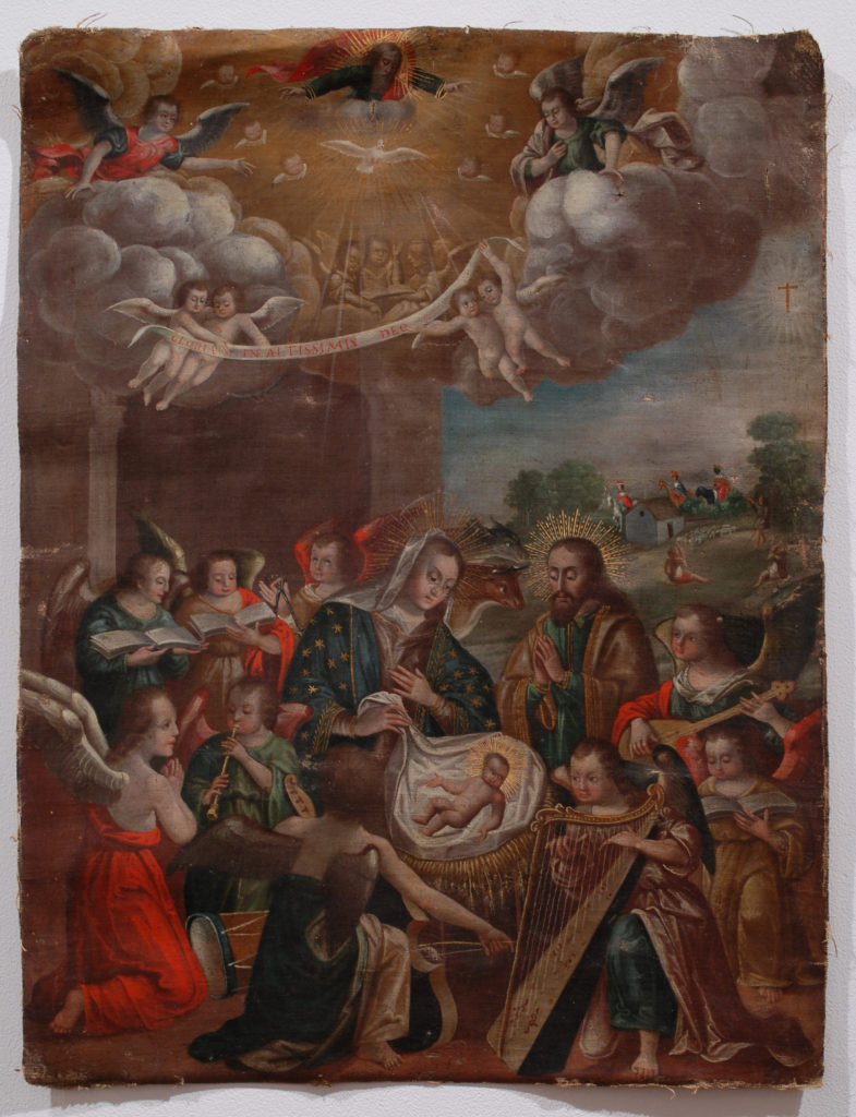 An oil painting depicting Mary and Joseph looking at the infant Jesus in a crib while surrounded by angels observing and playing musical instruments
