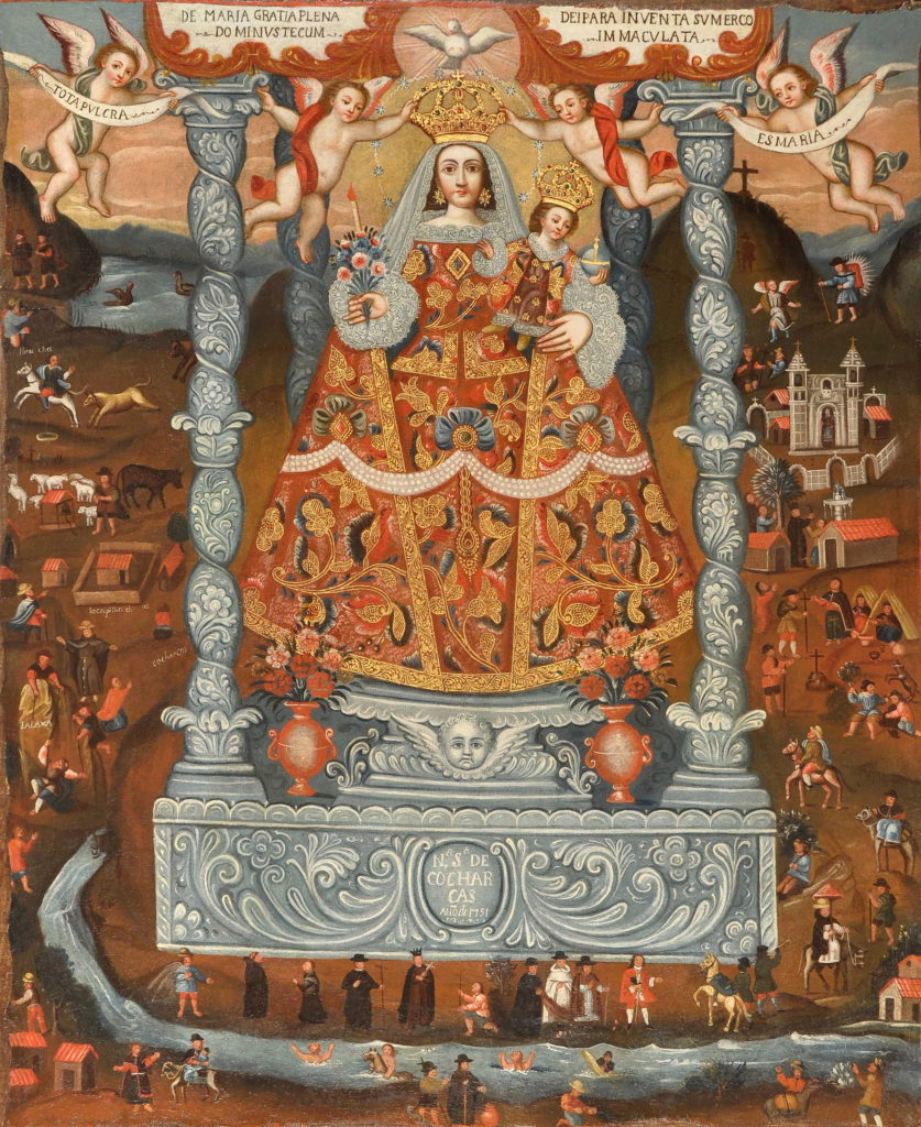 An oil painting showing Mary dressed in a highly decorated triangular robe holding the infant Jesus while smaller figures go about their daily lives around her
