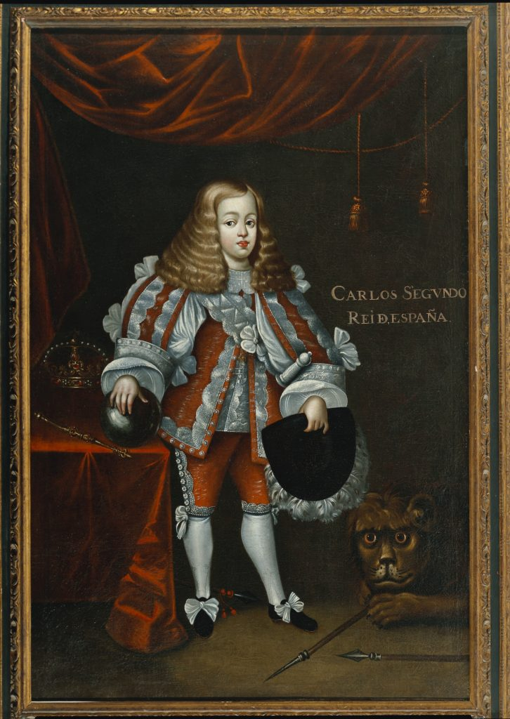 An oil painting depicting Charlos the second as a younger child standing next to a table with a scepter and crown while a lion lays on the floor next to him