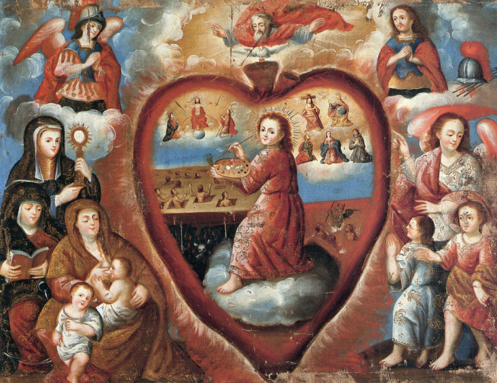 A young boy paints abstract scenes. He is wreathed in a heart and watched by several religious figures