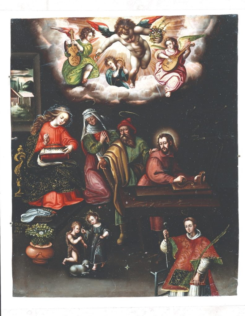 A houseful of adults watch a pair of particularly-holy children play with a lamb. Angels burst in through the wall