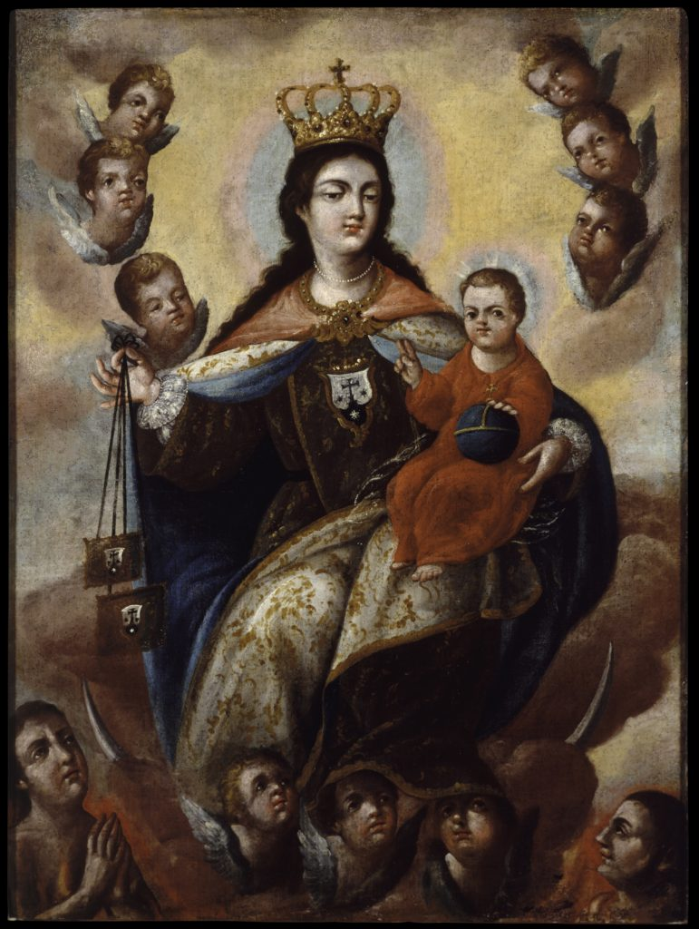 A holy woman and child float in mists, surrounded by winged baby heads