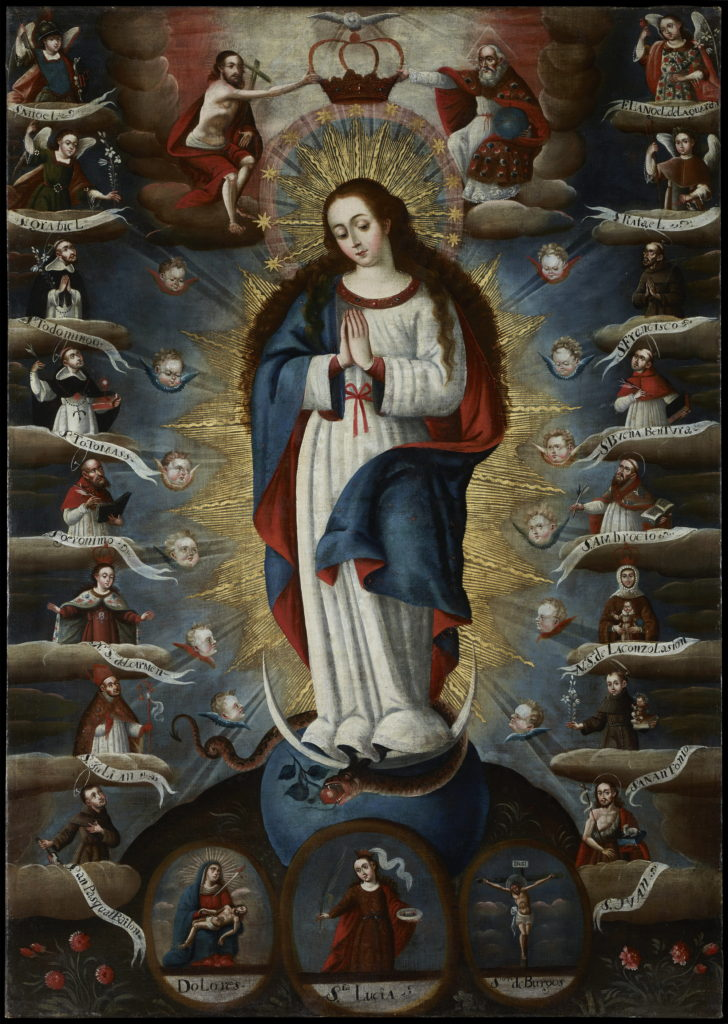 Mary is painted surrounded by various saints and winged baby heads