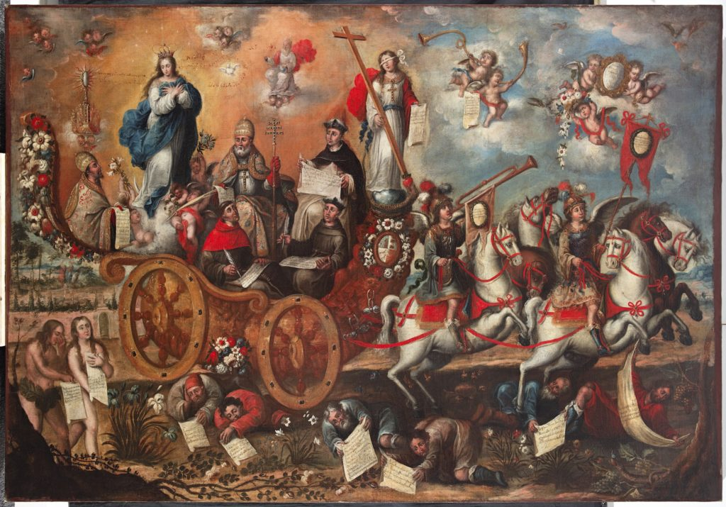 A procession of holy people rides by in a horse-drawn cart, flanked by angels