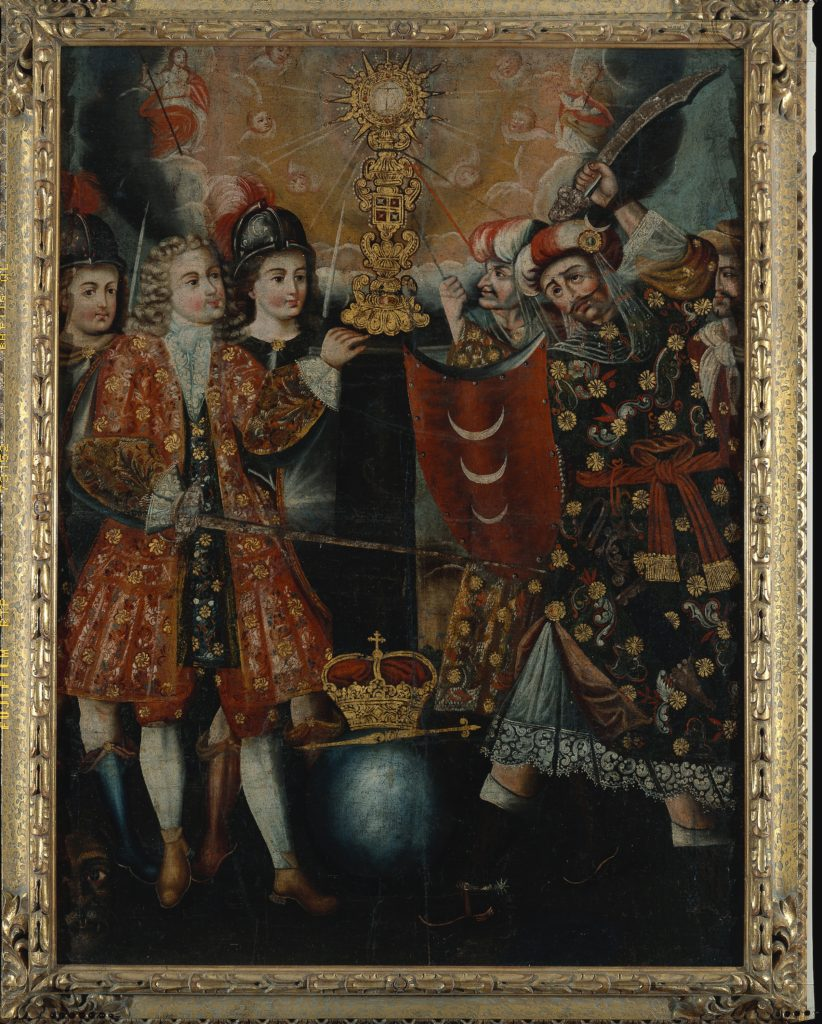 A group of fancily-dressed noblemen point swords at each other