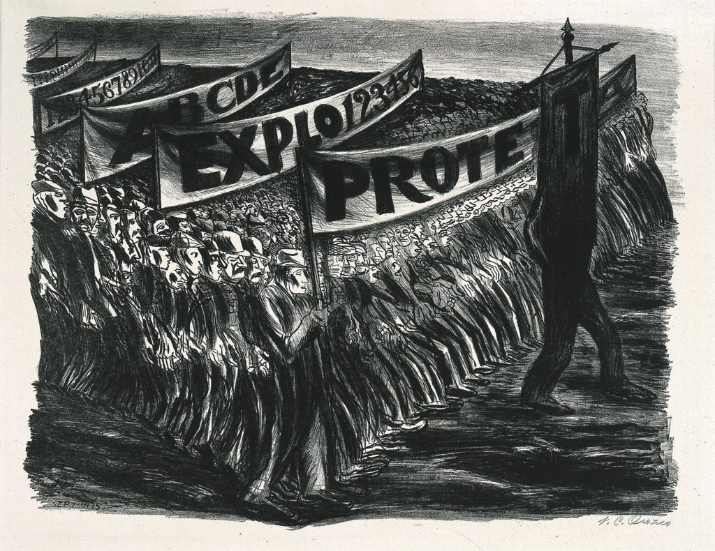 """lithograph of a protest demonstration. there are hundreds of people in attendance sketched with very thick lines. they hold banners that read """"ABC.."""" """"??????????"""" """"ABCDE"""" """"EXPLO123456"""" and """"PROTE.."""" with a figure leading the group that morphs into a banner reading """"T""""."""