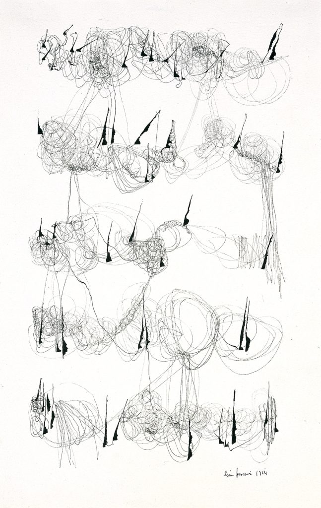 """Ink on paper. Lines are scribbled throughout the paper in a cursive like motion. Ink pools in quarter-note like blotches making the scribbles look like cursive script. The artist name and date """"leon ferrari 1964"""" are at the bottom of the piece."""