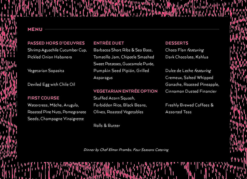Menu card for a catered event.