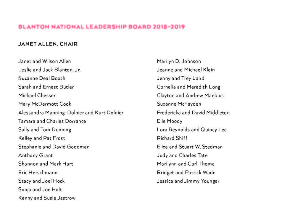 List of the Blanton Gala Leadership board.