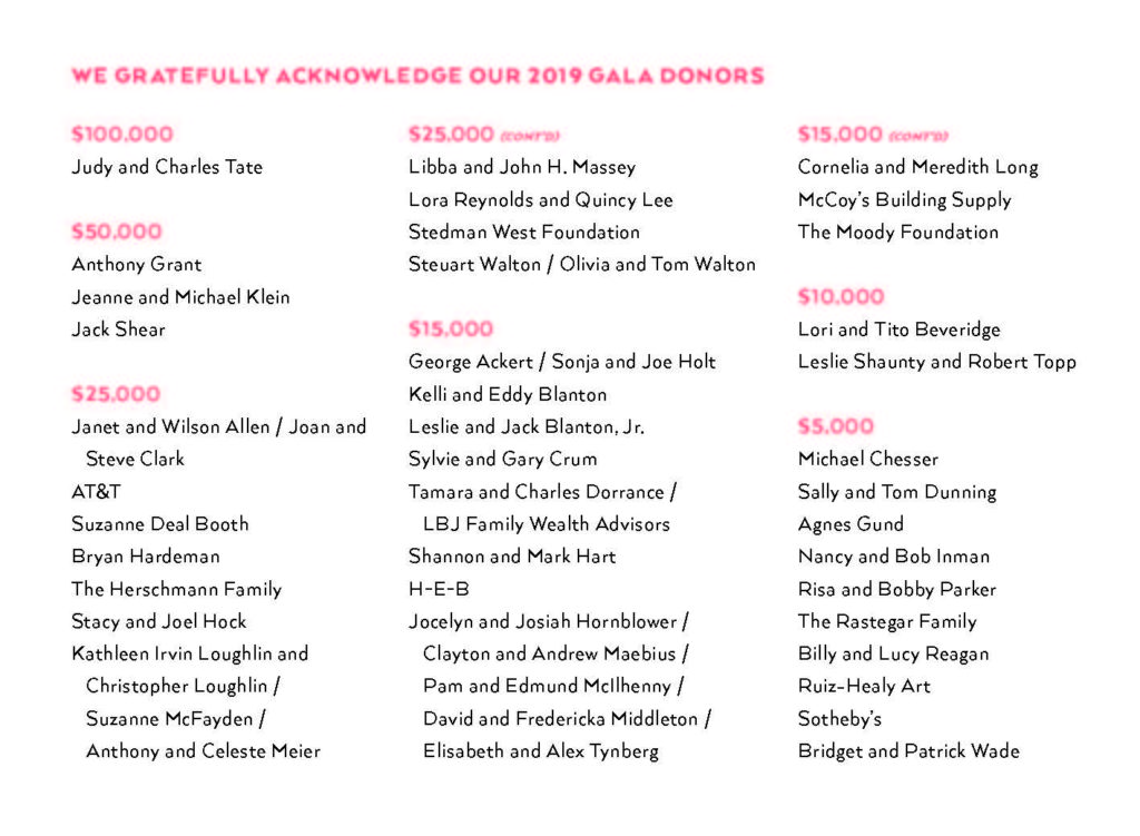 List of the 2019 Blanton Gala Donors