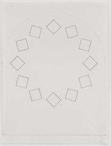 """Ellsworth Kelly pencil sketch of tumbling squares titled """"Study for Stained Glass Window, South Wall, Chapel"""""""