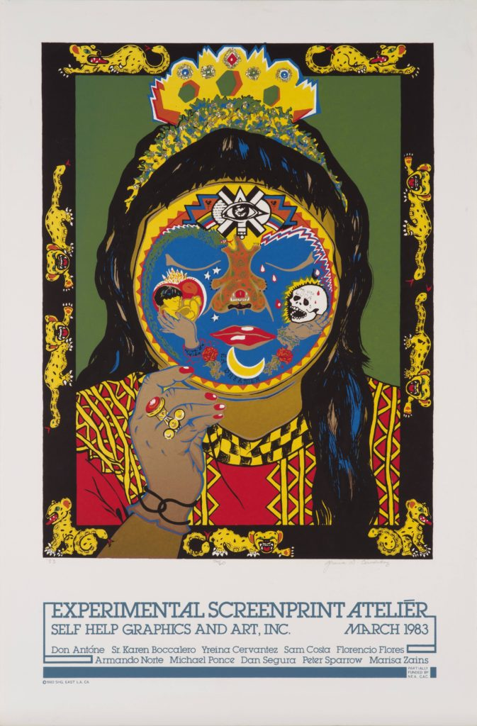 A stylized woman holds a mask up to her face. Large wild cats with snakes for tails roam the boarders