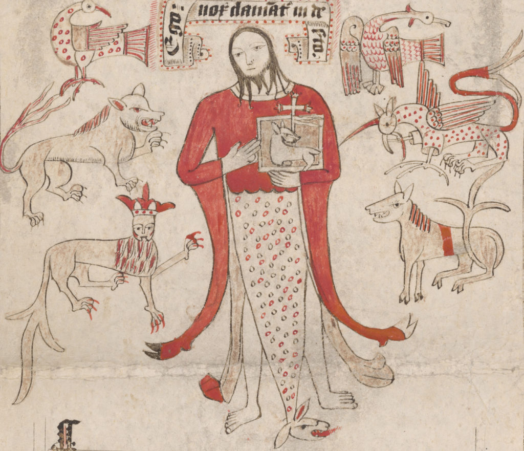 A drawing of John the Baptist, surrounded by fierce chimeras