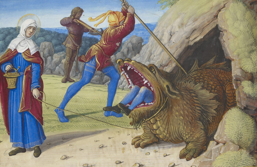 A woman pulls on a rope around a dragon's neck while her companion stabs it with a sword. The creature has half-devoured another knight