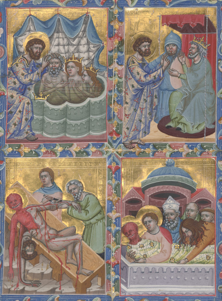 This piece depicts a story and is broken up into quadrants. The top left quadrant depicts St. Bartholomew kneeling over three people: a a king and a queen and a princess in a pool apparently baptizing them. The second quadrant depicts St Bartholomew talking to a king. The third quadrant depicts St Bartholomew being flayed. The Fourth is Saints flayed body being buried.
