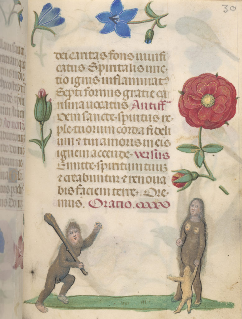 Page from manuscript. The top half text is visible surrounded by flowers. On the bottom of the page is an illustration of a wild man holding a club leaning towards a wild woman holding the hand of the child.