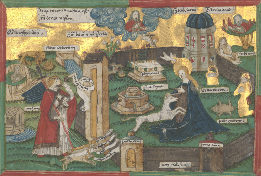 Depiction of Mary in a an enclosed garden with unicorn sitting on lap.