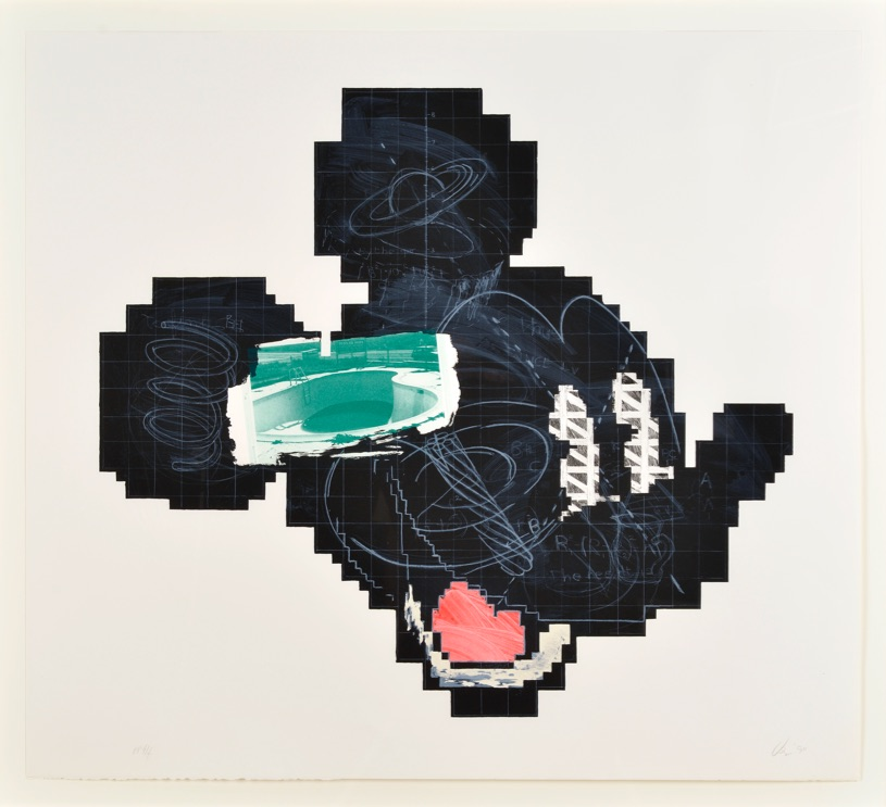 Lithograph of Mickey Mouse, a large portion of mickey is made out of what appears to be chalk board with chalk writings and grid, for eyes mickey has pencil triangles that are arranged to become squares with white in-between each triangle, close to the ear section is and image of an empty pool. the image is all one color green