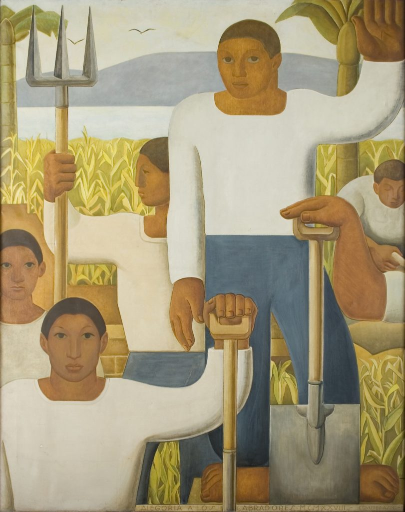 Five figures with farming tools in a corn field with two palm trees. A body of water and mountain are in the background.
