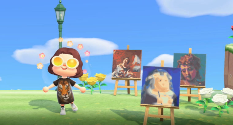 Screenshot from the Nintendo video game Animal Crossing New Horizons. A character shows off three pieces of art on display outside in the virtual game world. The pieces of art are virtual recreations of real life paintings. The paintings are; Simon Vouet's St. Cecilia, Fernando Botero's Santa Rosa de Lima según Vásquez and Paolo Veronese, Head of Saint Michael.