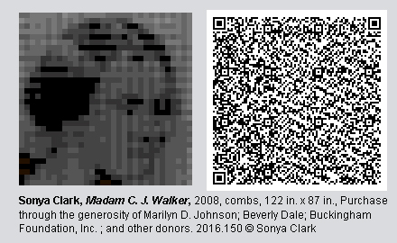 "QR Code and pixelated image of ""Madam C.J. Walker"" by Sonya Clark"