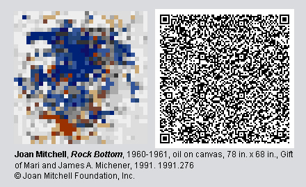 "QR Code and pixelated image of ""Rock Bottom"" by Joan Mitchell."
