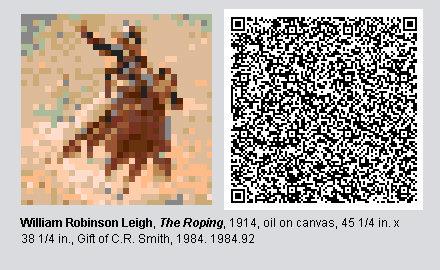 "QR code and pixelated image of ""The Roping"" by William Robinson Leigh"