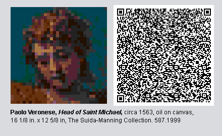 "QR Code and pixelated image of ""Head of Saint Michael"" by Paolo Veronese."