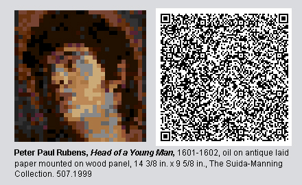 "QR Code and pixelated image of ""Head of a Young Man"" by Peter Paul Rubens."