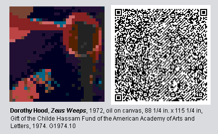 "QR Code and pixelated image of ""Zeus Weeps"" by Dorothy Hood"