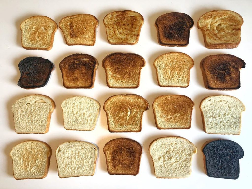 """Sliced Homemade Bread toasted to look like """"Synecdoche"""" by Byron Kim"""