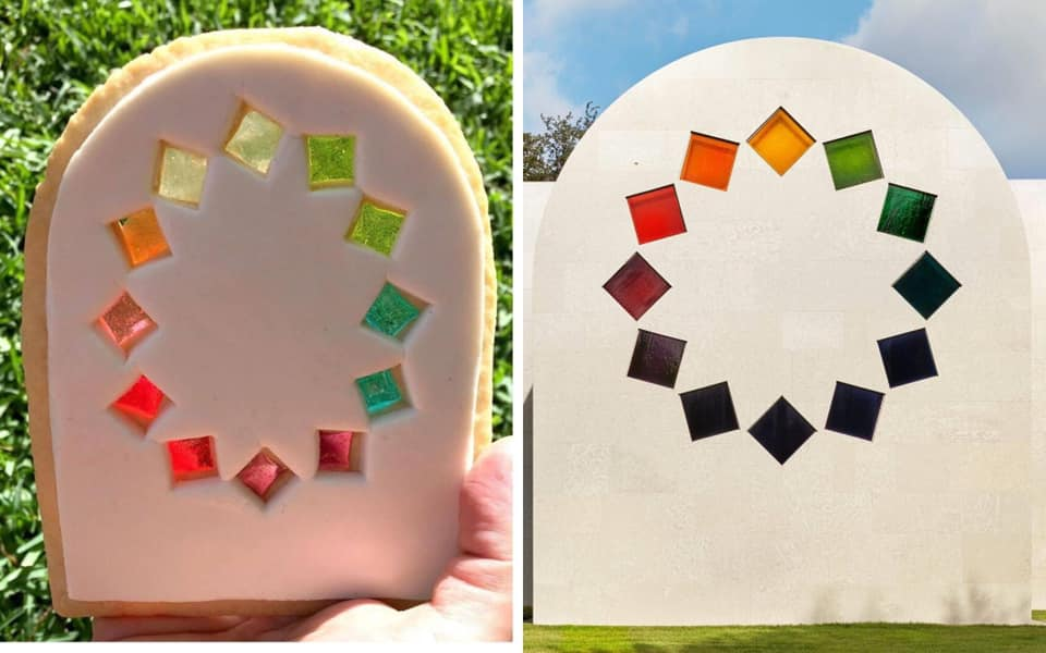 Cookie made to resemble Ellsworth Kelly's Austin building. The cookie is in the shape of the facade of the building featuring a circle of tumbling squares. The image is of a cookie and the actual building showing a comparison of the two.