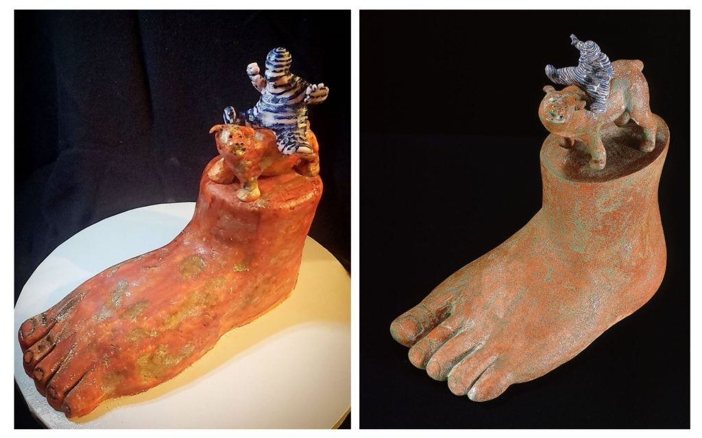 """Vanilla Cake with marshmallow fondant by Rae / Inspired by Tré Arenz' """"The Barefoot Clown."""""""