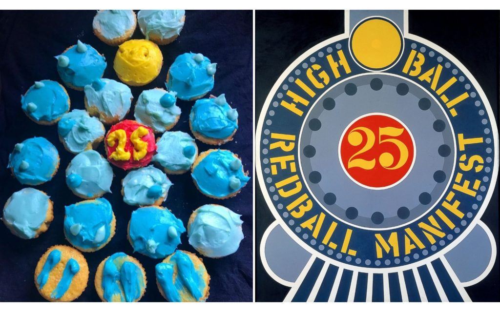 """Side by side images, the left image shows cupcakes arranged in a circular shape made to look like the right image which is Robert Indiana's painting """"Highball on the Red Ball Manifest"""" a stylized painting of the front of a train"""