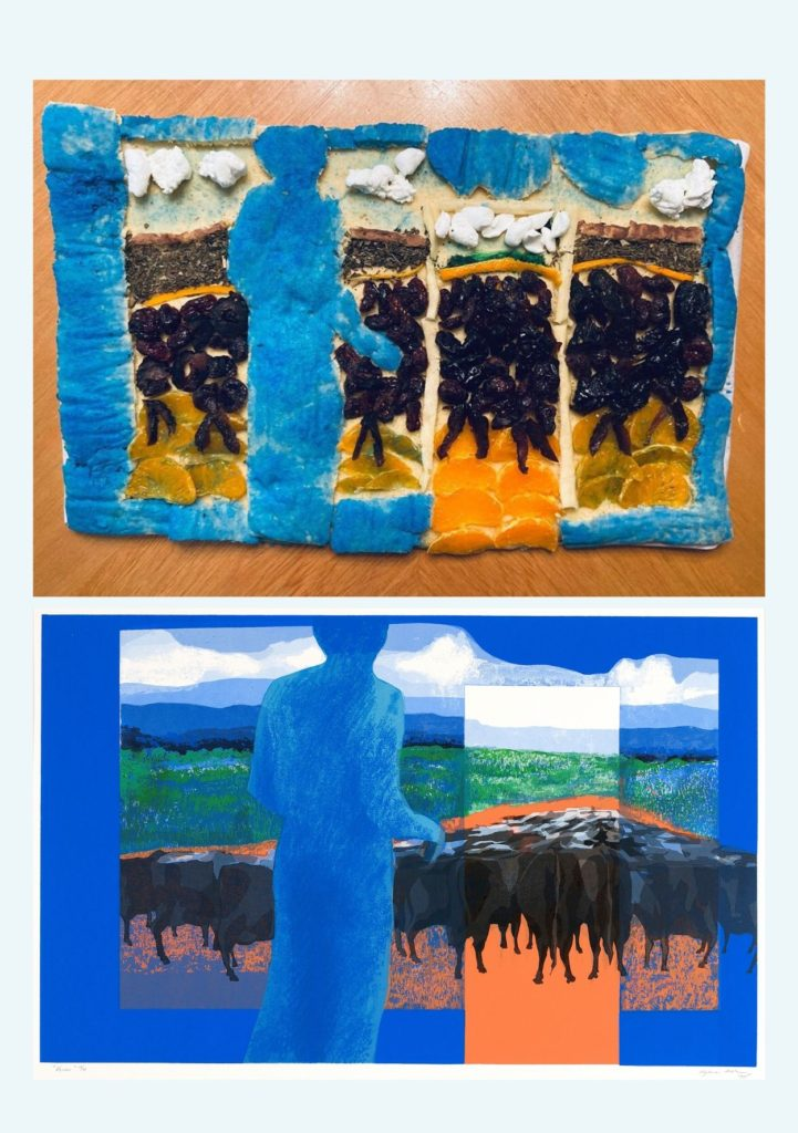 """The top image shows a rectangular cake decorated to look like the bottom image which is of Myrna Báez' """"Vacas"""" a painting depicting a herd of cattle walking away from the viewer toward the horizon, being looked over by a blue figure in the foreground"""