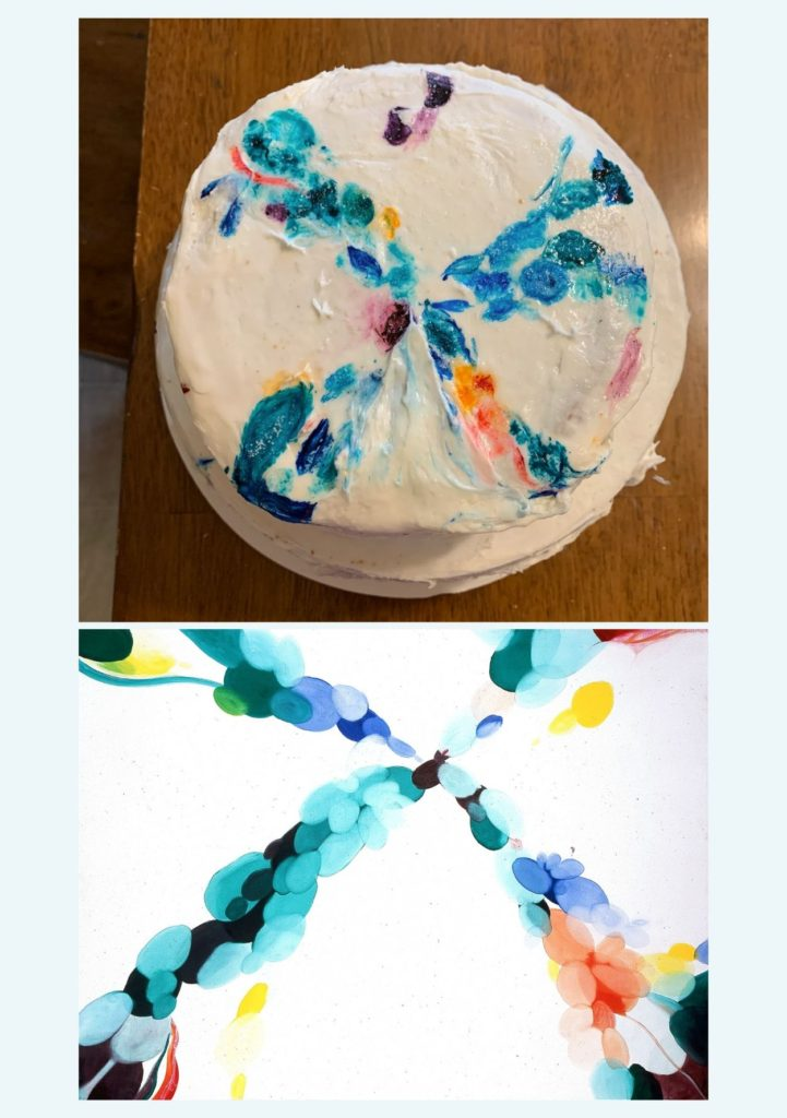 """The top shows a round cake frosted to look like the bottom image which is Alice Baber's """"Day of Sounds"""", a painting of different sized oval shapes of different colors that form a large X shape"""